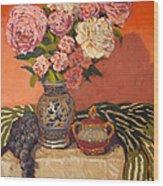 Roses Peonies And Grapes Wood Print