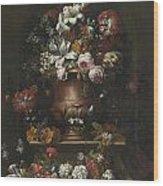 Roses Peonies Lilies Wood Print
