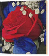 Roses - Red White And Blue Wood Print