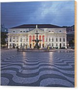 Rossio Square At Night In Lisbon Wood Print