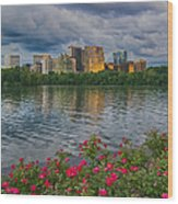 Rosslyn Virginia Sunset From Across The Potomac River Wood Print