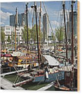 Rotterdam City Marina Wood Print