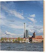 Rotterdam Skyline In Netherlands Wood Print