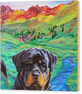 Rottweiler Dogs Landscape Painting Bright Colors Wood Print
