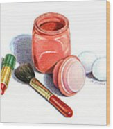 Rouge And Lipstick Still Life Wood Print