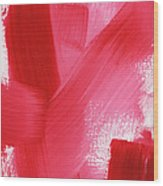 Rouge- Vertical Abstract Painting Wood Print
