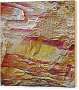 Rough And Red Rock In Petra-jordan  Wood Print