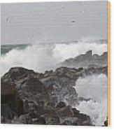 Rough Sea At Ocean Shores Wood Print
