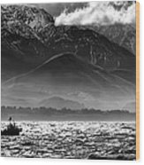 Rough Seas Kaikoura New Zealand In Black And White Wood Print