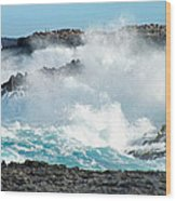 Rough Waves Offshore Whale Point Wood Print