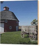 Round Barn Wooden Wagon Wood Print