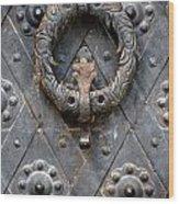 Round Metal Doorknob Wood Print