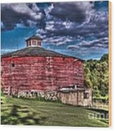 Round Red Barn Wood Print