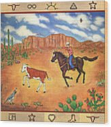 Round Up And Cattle Brands Wood Print