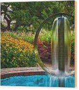 Round Water Sculpture Prescott Park Garden  Wood Print