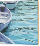 Rounded Row Of Rowboats Wood Print