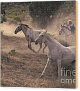 Rounding Up Horses On The Ranch Wood Print