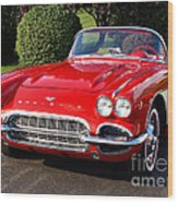 Route 66 - 1961 Corvette Wood Print