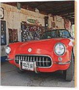 Route 66 Corvette Wood Print