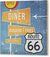 Route 66 Diner Wood Print