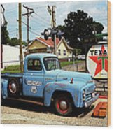Route 66 - Gas Station With Watercolor Effect Wood Print by Frank Romeo