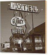 Route 66 - Glancy Motel Wood Print