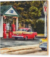 Route 66 Historic Texaco Gas Station Wood Print