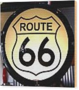 Route 66 Lighted Sign Wood Print