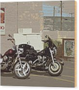 Route 66 Motorcycles With A Dry Brush Effect Wood Print