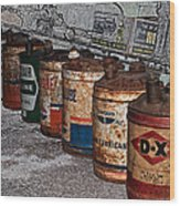 Route 66 Odell Il Gas Station Oil Cans Digital Art Wood Print