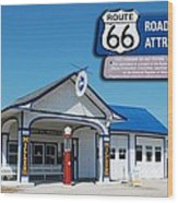 Route 66 Odell Il Gas Station Signage 01 Wood Print