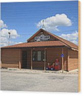 Route 66 - Old Log Cabin 3 Wood Print