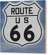Route 66 Road Sign Wood Print