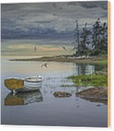 Row Boat By Mount Desert Island Wood Print
