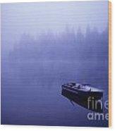 Row Boat On Lake Mason Wood Print