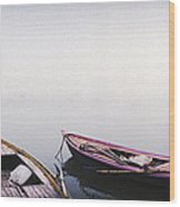 Row Boats In A River, Ganges River Wood Print