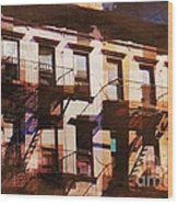 Row Houses - Old Buildings And Architecture Of New York City Wood Print