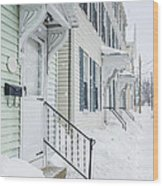 Row Houses On A Snowy Day Wood Print