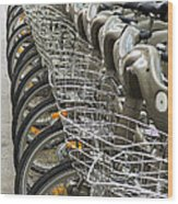 Row Of Bicycles Wood Print