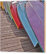 Row Of Colorful Boats Art Prints Wood Print