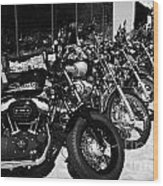 Row Of Harley Davidson Motorbikes Including Sportster Outside Motorcycle Dealership Orlando Florida  Wood Print