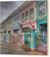 Row Of Historic Colorful Peranakan House Wood Print
