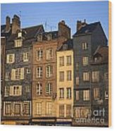 Row Of Houses. Honfleur Harbour. Calvados. Normandy. France. Europe Wood Print by Bernard Jaubert