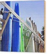 Row Of Kayaks Wood Print