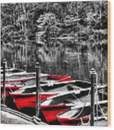 Row Of Red Rowing Boats Wood Print