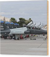 Row Of T-38c Trainer Jets At Nellis Air Wood Print