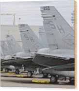 Row Of U.s. Marine Corps Fa-18 Hornet Wood Print