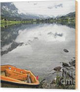 Row Your Boat To The Briksdalsbreen Glacier Wood Print