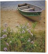 Rowboat And Asters Wood Print