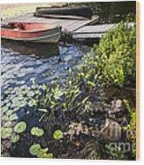 Rowboat At Lake Shore At Dusk Wood Print by Elena Elisseeva